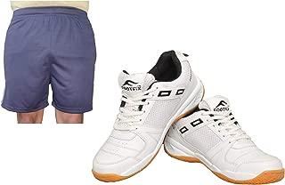 FOOTFIX Men's Squash White (Non Marking) Gym, Badminton Sports Shoes with Free Blue Shorts