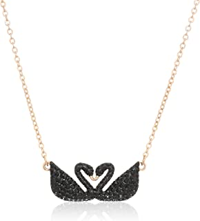 Swarovski Collana Iconic Swan da Donna, Placcato Oro Rosa, Nero