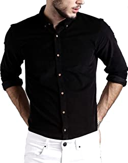 DEZANO Men's Cotton Stylish Solid Full Sleeve Button Down Shirt - Black