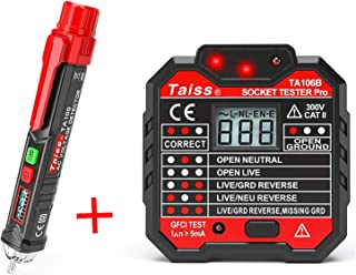 Twidec/Voltage Tester Pen Non-Contact with LED Flashlight + GFCI Outlet Tester Power Socket Automatic Electric Circuit Polarity Voltage Detector Wall Plug Breaker Finder TA100+TA106B