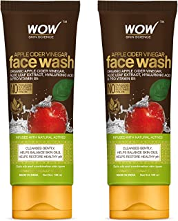 WOW Skin Science Apple Cider Vinegar Face Wash - No Parabens, Sulphate, Silicones & Color - Pack of 2 - Net Vol. 200mL
