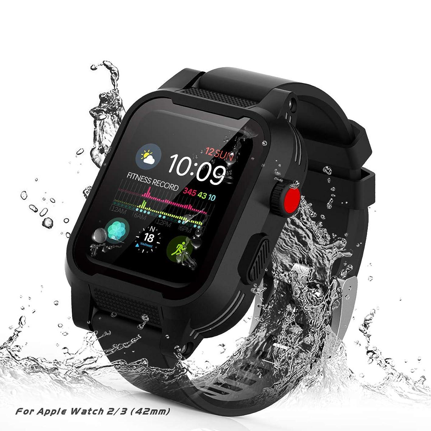 [Waterproof Case for 42mm] AIUERU Waterproof Apple Watch Case with Resilient Shock Absorption for 42mm Apple Watch Series 3 / Series2 / with 2 Soft Silicone Watch Band - Black jrmhhvapnlg621