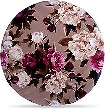 Generic Handicrafts Round Velvel Fabric Cushion (Multicolour, 14x14 Inches)