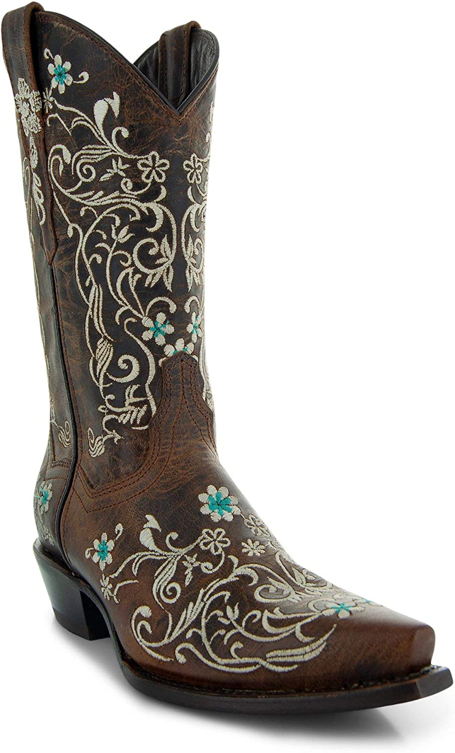 Women's Soto Boots Dahlia Vintage Flower Embroidery Cowgirl Boots M50042