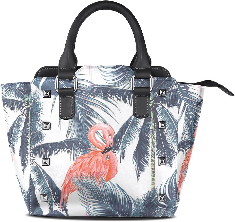 My Little Nest Women's Top Handle Satchel Handbag Pink Flamingoes Jungle Leaf Ladies PU Leather Shoulder Bag Crossbody Bag
