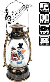 Evelyne GMT-10314-M Snowman Family Christmas Snow Globes Musical - Battery Operated LED Lighted Swirling Glitter Water Lantern - Christmas Decorations for The Home