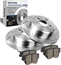 CENCORE Rear Left & Right Anti-Rust Brake Disc Plate Kit Cross Drilled & Slotted 2 Brake Rotors & 4 Ceramic Brake Pads Compatible with Dodge Charger 2006-2014 Replacement for Chrysler 300 2005-2013