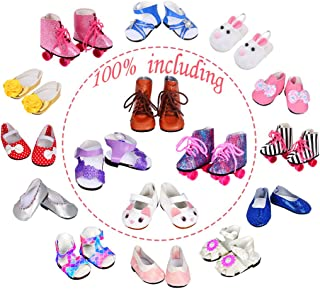ebuddy 6pair Doll Shoes 100% Get Rabbit Shoes/ Boots /Roller Skate/ Sandal and The Other Two Random Diffrent Shoes for 18 inch Doll