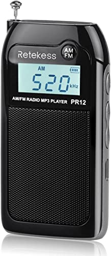 Retekess PR12 Pocket Radio AM FM Radio Mini Rechargeable with MP3 Player Support TF CardMusic Player Speaker Digital...