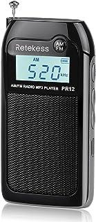 Retekess PR12 Pocket Radio AM FM Radio Mini Rechargeable with MP3 Player Support TF CardMusic Player Speaker Digital Radi...
