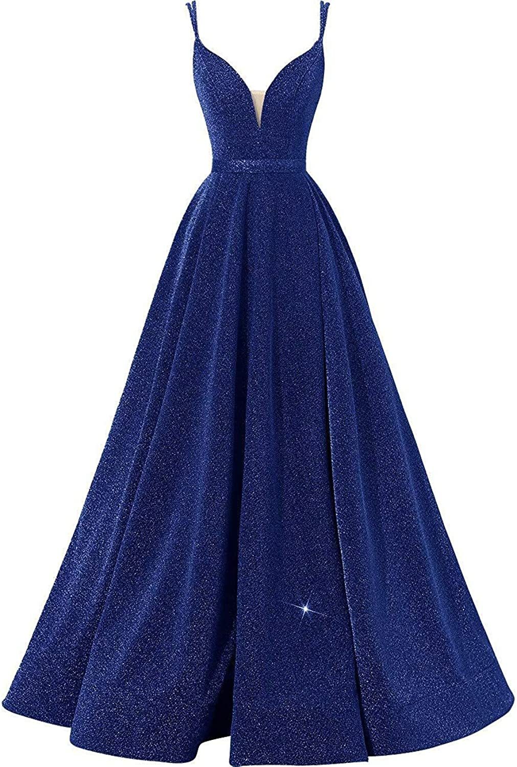 RYANTH Women's Glittery VNeck Prom Dresses Side Slit Evening Formal Gowns A Line RPM07