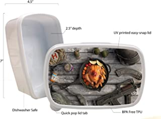 Amazing Fan Made Chicken Dinner Art Printed White Plastic Lunch Box Food Dry Storage Container Stash