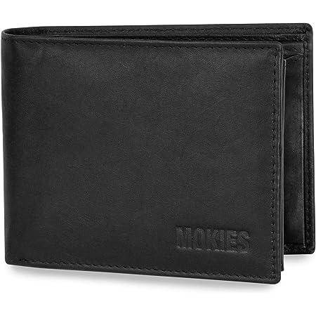 MOKIES Herren Geldbörse aus echtem Leder - 100% Rindleder - RFID und NFC-Schutz - Querformat - Portemonnaie für Männer