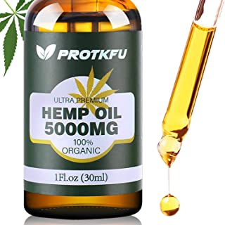 5000MG Hemp Oil for Pain, Anxiety & Stress Relief - 100% Natural Organic Hemp Extract - Rich in Vitamin & Omega, Helps wit...