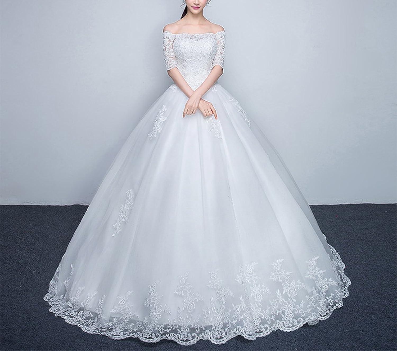 Meili Wedding Dress, Bride Married Word Shoulder Simple Slim Long Sleeves Wedding Dress SLR