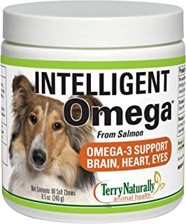 Terry Naturally Animal Health Intelligent Omega - 60 Soft Chews - Omega 3, Salmon Oil for Dogs, Promotes Brain, Heart & Ey...