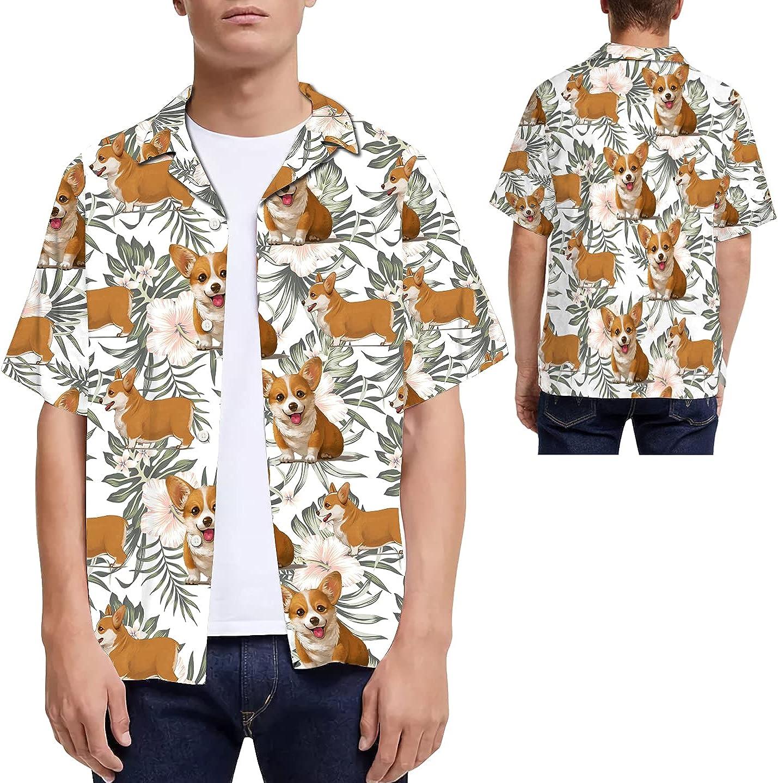 Corgi Tropical Leaves Hibiscus Men Hawaiian Shirt for Dog Lovers