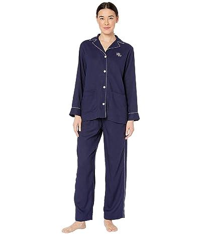LAUREN Ralph Lauren Petite Long Sleeve Notch Collar Long Pajama Set (Navy) Women