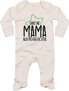 Kleckerliese Baby Schlafanzug Strampler Schlafstrampler Sprüche Jungen Mädchen Motiv Ganz die Mama nur Pflegeleichter