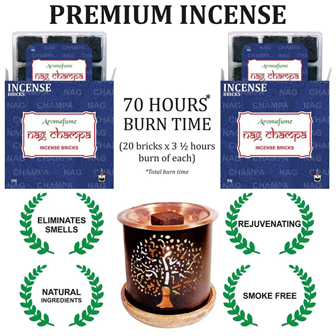 これら王室不当aromafume Nag Champa Incense Bricks & Tree of Life Incense Burner