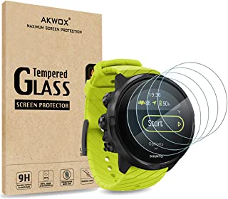 (Pack of 4) Tempered Glass Screen Protector for Suunto 9, Akwox [0.3mm 2.5D High Definition 9H] Premium Clear Screen Prote...