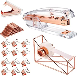Rose Gold Office Supplies Set - Stapler, Tape Dispenser, Staple Remover with 1000 Staples and 12 Binder Clips, Luxury Acrylic Rose Gold Desk Accessories & Decorations