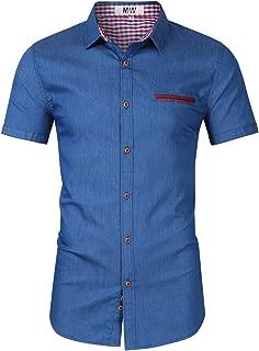 Kuulee Men's Casual Slim Fit Short Sleeve Button Down Dress Shirts Denim Shirt Jean Shirt