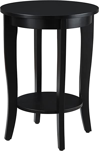 Convenience Concepts American Heritage Round Table Black Finish