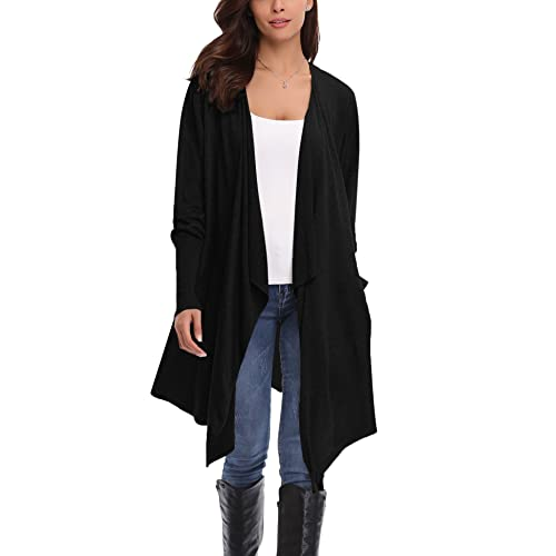 798c28a55d Abollria Cardigans for Women Lightweight Long Sleeve Waterfall Open Front  Midi Long Cardigan with Pockets