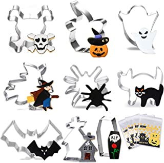 HomyPlaza 9 pcs Halloween cookie cutter stainless steel cookie mold Making Cookies Muffins, Biscuits, Sandwiches graduation with 100 pcs Biscuit bag