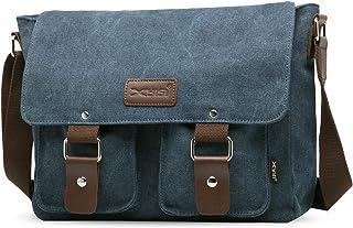 FANDARE Leinwand Messenger Bag Umhängetasche 7.9 inch iPad Tasche Schultertasche Unisex Segeltuch Tasche Arbeiten Tasche für Männer und Frauen, Herren/Damen Reise Umhängetasche Blau