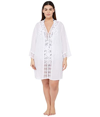 La Blanca Plus Size Island Fare Tunic Cover-Up (White) Women