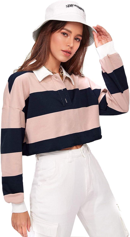 Milumia Women Colorblock Striped Crop Tops Long Sleeve Button Collared Polo Shirt