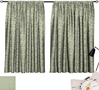 Josepsh Floral décor Darkening Curtains Flourishing Nature Ornamental Victorian Design Inspired Foliage Leaves Curtain for Kids Room Pale Yellow Pale Green W96 x L72