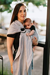 Luxury Ring Sling Baby Carrier – Extra Soft Bamboo & Linen Fabric, Full Support and Comfort for Newborns, Infants & Toddlers - Best Baby Shower Gift - Great for Men Too  (Soft Rain)