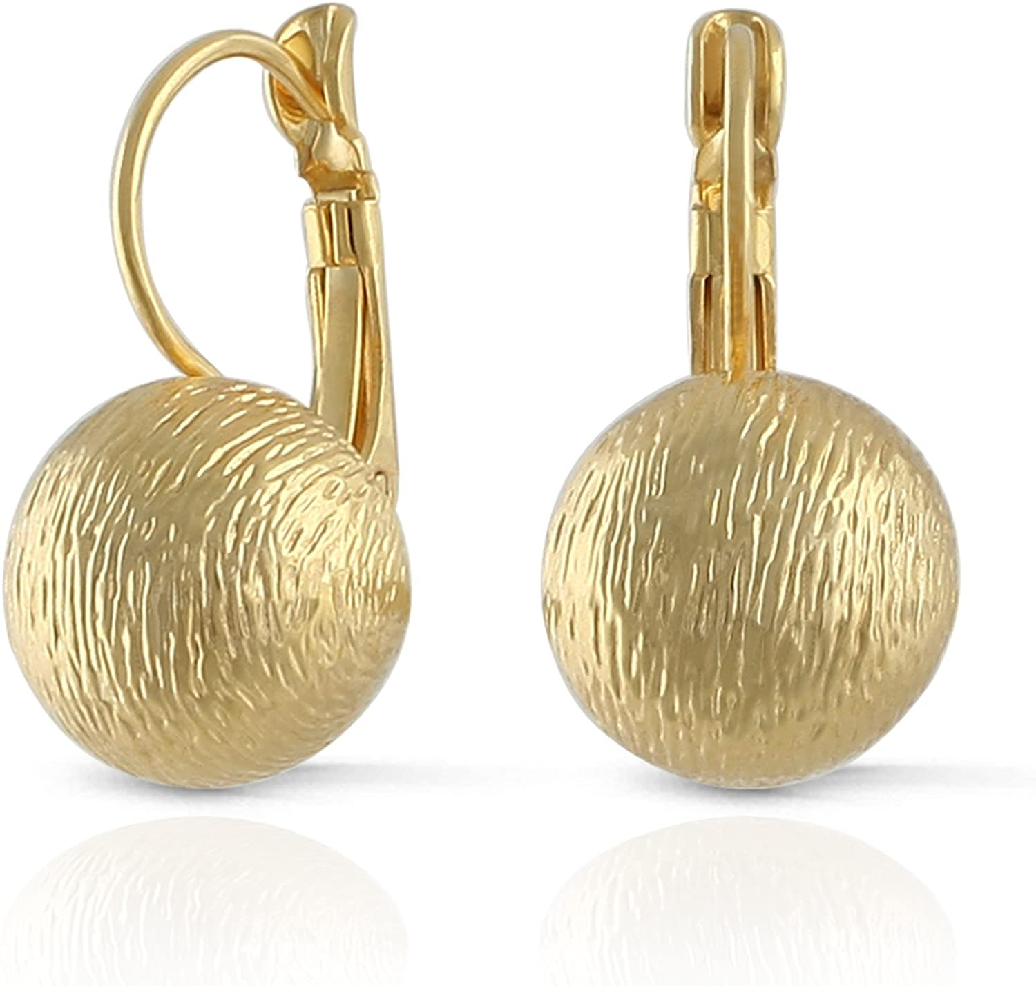 JanKuo Jewelry Brushed Satin Matte Gold Plated Ball Leverback Earrings