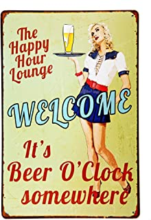 NEW DECO Tign Sign Happy Hour Welcome It's Beer O'clock Somewhere Vintage Retro Rustic Metal Tin Sign Pub Wall Deor Art 8x12 Inches (20x30cm)