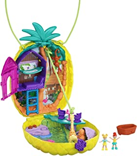 Polly Pocket Tropicool Pineapple Wearable Purse Compact with 8 Fun Features, Micro Polly and Lila Dolls, 2 Accessories and...