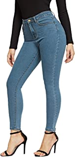 SheIn Women's Casual Solid Ankle Jeggings Pocket Denim Skinny Stretch Jeans Pants