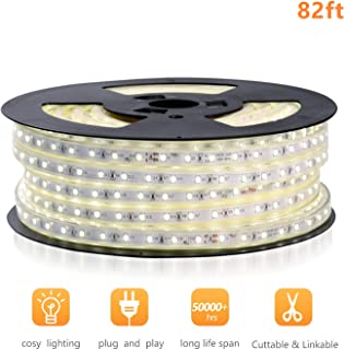 Shine Decor 110V Cuttable LED Strip Lights, Super Bright Plug & Play Light Strip for Indoor Outdoor Lighting, Safe Flexible Glowing Lights for Party Decorations & Ambient Spaces - 82ft Cool White