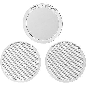 Corretto Pro AeroPress® 再利用可能コーヒーフィルター–ファイン、ウルトラファイン、およびメッシュ–高級ステンレススチール–淹れ方ガイドが含まれています(日本語ではない場合があります)。 Set of 3 APFILTERSET3