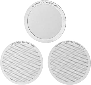 Corretto Set of 3 Pro Reusable Filters for use in AeroPress Coffee Maker - FINE, ULTRA-FINE and MESH Filter Set - Premium Grade Stainless Steel - Brewing Guide Included