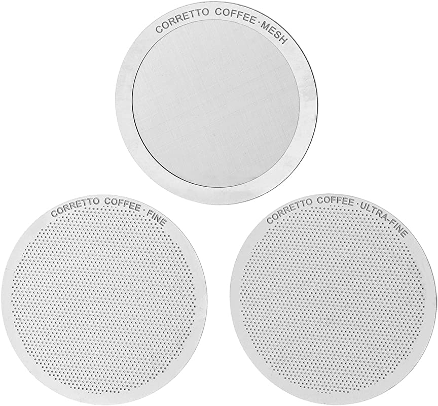 Set Of 3 Pro Reusable Filters For Use In AeroPress Coffee Maker FINE ULTRA FINE And MESH Filter Set Premium Grade Stainless Steel Brewing Guide Included
