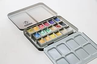 Schmincke Metal tin set of 18 half pans - Pearl Metallic + Gold Limited Edition colours