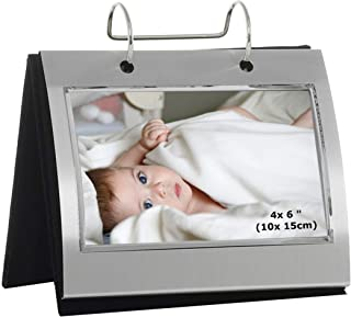 Photo Frames 74100 Silver Colour Free Standing Flip Album - Holds 50 of 6 x 4 inch Photos