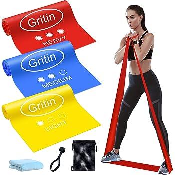 Gritin Bande Elastiche Fitness, [3 Pezzi] Fasce Elastiche di Resistenza di Lattice Naturale con 3 Livelli per Yoga, Pilates, Allenamento, Fisioterapia, Riabilitazione - Borsa per Il Trasporto Incluso