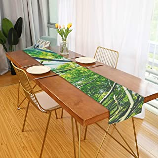 Rod Whitehead Table Runner Bamboo Forest Morning Sunlight Home Decor Dresser Scarves Table Cloth Runner Coffee Mat for Wedding Party Banquet Decoration 13 x 70 inch