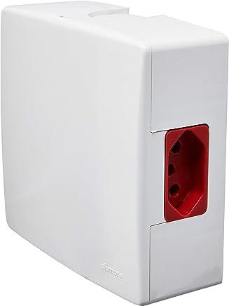 Caixa de Sobrepor com Disjuntor Bipolar de 16 Amp e Tomada 2P+T 20 Amp, Alumbra, 8624, Vermelho