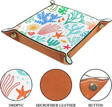 Leather valet Tray Multi-Purpose storage box Tray Organizer Used for storage of small accessories,hand drawn color coral