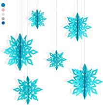 Proboths Paper Snowflake Ornaments Hollow Snowflake Garland Hanging Decorations for Christmas Party 6PCS Green